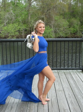 Queenly size 2 Sherri Hill Blue Romper/Jumpsuit evening gown/formal dress