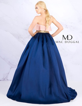 Mac Duggal Blue Size 4 Strapless Navy Ball gown on Queenly