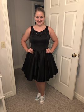 Queenly size 12 Sherri Hill Black Cocktail evening gown/formal dress