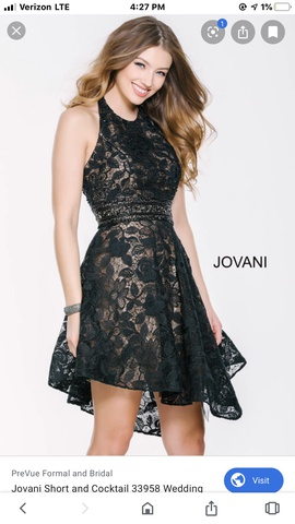 Jovani Black Size 8 Flare Homecoming Halter Cocktail Dress on Queenly