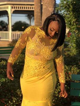 Yellow Size 16 Train Dress on Queenly