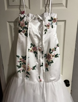 Mori Lee White Size 16 Prom Floral Mermaid Dress on Queenly
