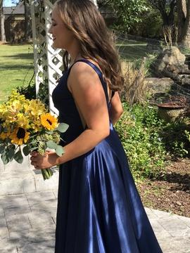 Sherri Hill Blue Size 8 Prom Pockets A-line Side slit Dress on Queenly