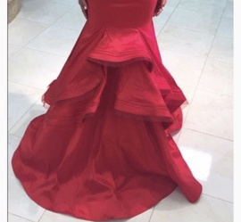 Mac Duggal Red Size 4 Prom Train Dress on Queenly