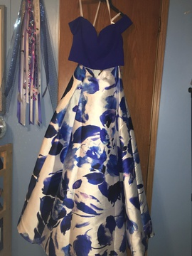 B. Darlin Blue Size 14 Prom Floral Ball gown on Queenly