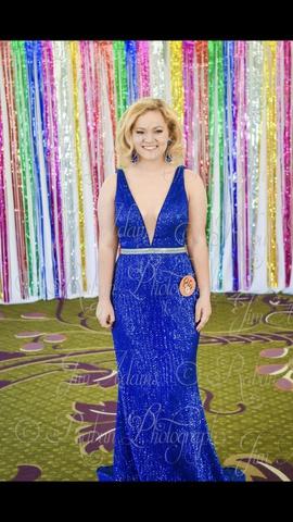 Jovani Blue Size 8 Belt Plunge Mermaid Dress on Queenly
