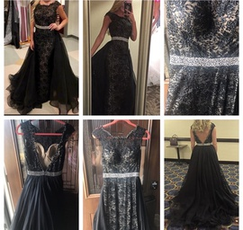 Sherri Hill Black Size 2 Red Beaded Train Dress on Queenly