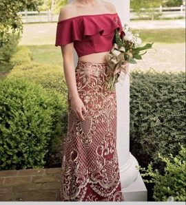 Style EW118127 Ellie Wilde Red Size 2 Two Piece Prom Mermaid Dress on Queenly
