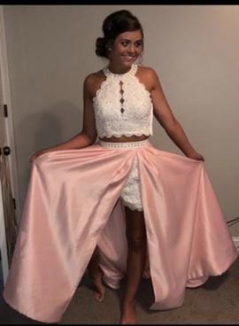 Rachel Allan Pink Size 4 Two Piece Side slit Dress on Queenly