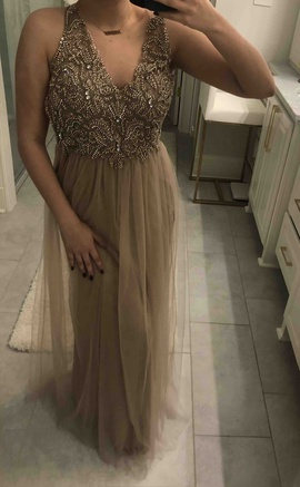 Queenly size 2  Gold Straight evening gown/formal dress