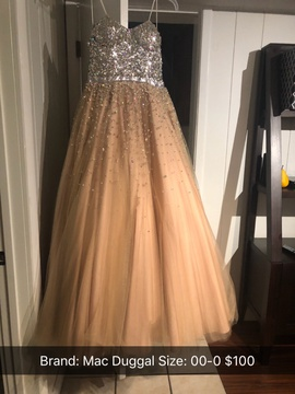 Queenly size 00 Mac Duggal Gold Ball gown evening gown/formal dress