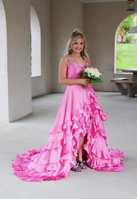 Sherri Hill Pink Size 4 Prom High Low Train Dress on Queenly
