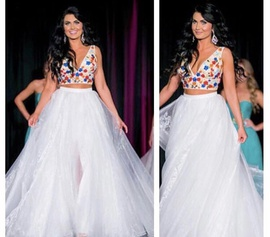 Sherri Hill White Size 6 Custom Red Pageant Two Piece Ball gown on Queenly