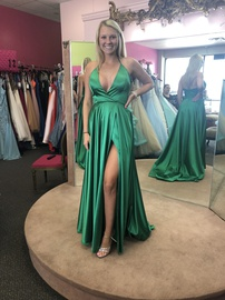 Queenly size 6  Green Side slit evening gown/formal dress