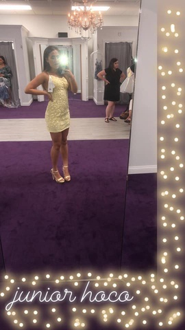 Sherri Hill Yellow Size 0 Beaded Straight Dress on Queenly