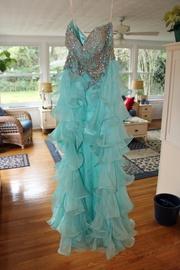 Sherri Hill Blue Size 6 Beaded Mermaid Dress on Queenly