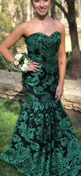 Tiffany Designs Green Size 4 Jewelled Sequin Mermaid Dress on Queenly