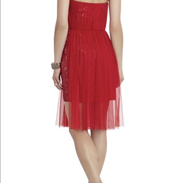 BCBG Red Size 8 Strapless Cocktail Dress on Queenly