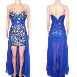 Queenly size 4 Vienna Blue Train evening gown/formal dress
