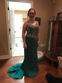Queenly size 8 Ritzee Green Straight evening gown/formal dress