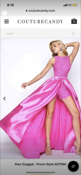 Mac Duggal Pink Size 10 Silk Overskirt Romper/Jumpsuit Dress on Queenly