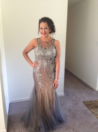 Jovani Silver Size 10 Prom Mermaid Dress on Queenly