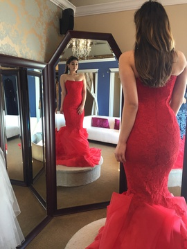 Juan Carlos Red Size 6 Strapless Mermaid Dress on Queenly