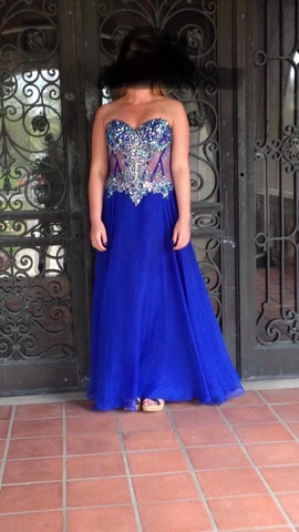 Mori Lee Blue Size 4 Straight Dress on Queenly