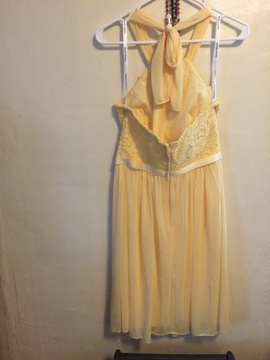 David's Bridal Yellow Size 6 Halter Straight Dress on Queenly