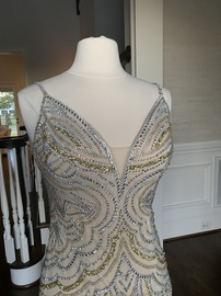 Jovani Nude Size 4 Backless Straight Dress on Queenly