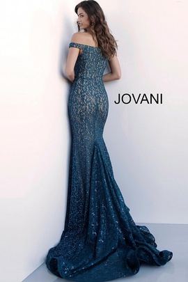 Jovani Blue Size 0 Sequin Train Dress on Queenly