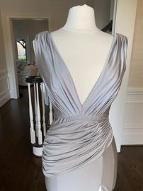 Jovani Silver Size 6 Silk Side slit Dress on Queenly