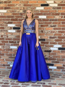 Mac Duggal Blue Size 6 Train Dress on Queenly