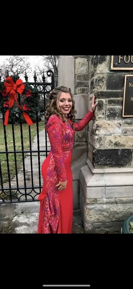 Sherri Hill Red Size 10 Sleeves Straight Dress on Queenly