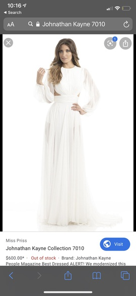Johnathan Kayne White Size 6 Sleeves Side Slit Straight Dress on Queenly