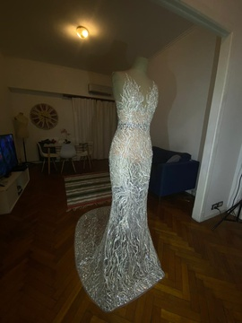 Dheymid Galaviz Silver Size 0 Sheer Train Dress on Queenly