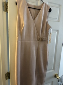 Queenly size 12 Calvin Klein Nude Side slit evening gown/formal dress