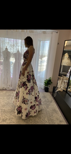 Jovani Multicolor Size 0 Floral A-line Dress on Queenly