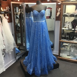 Queenly size 12 Ellie Wilde Blue A-line evening gown/formal dress