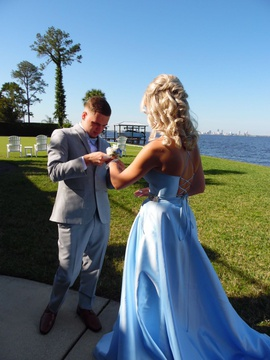 Sherri Hill Blue Size 0 Spaghetti Strap Pockets Sweetheart Ball gown on Queenly