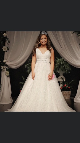Sherri Hill White Size 2 Sequin Train Ball gown on Queenly