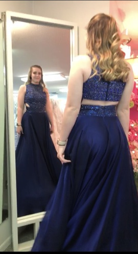 Sherri Hill Blue Size 4 Beaded Cut Out Straight Dress on Queenly