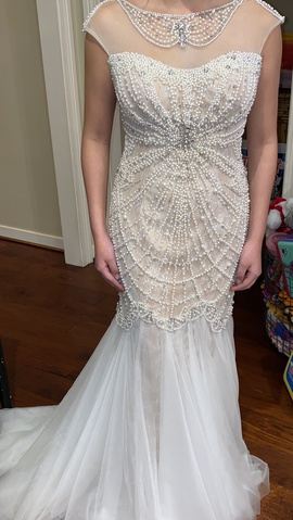 Sherri Hill White Size 4 Sequin Train Dress on Queenly