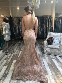 Jovani Nude Size 2 Shiny Train Dress on Queenly