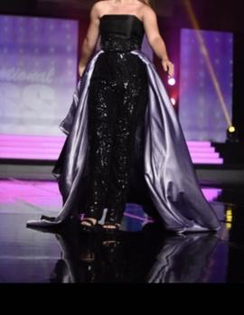 Queenly size 4 Mac Duggal Black Romper/Jumpsuit evening gown/formal dress
