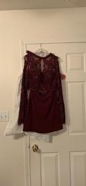 Queenly size 4 Rachel Allan Red A-line evening gown/formal dress