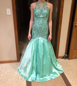 Queenly size 0 Sherri Hill Green Mermaid evening gown/formal dress
