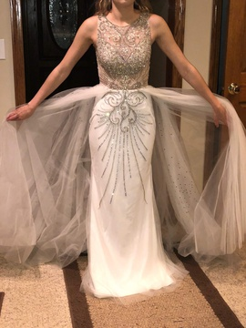 Jovani White Size 00 Sequin Overskirt Train Dress on Queenly