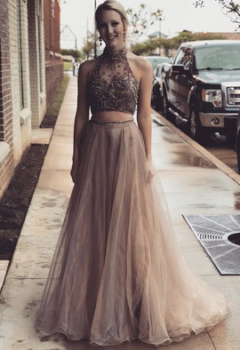 Queenly size 2 Sherri Hill Nude Ball gown evening gown/formal dress