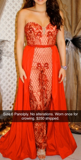 Queenly size 6 Panoply Red Romper/Jumpsuit evening gown/formal dress